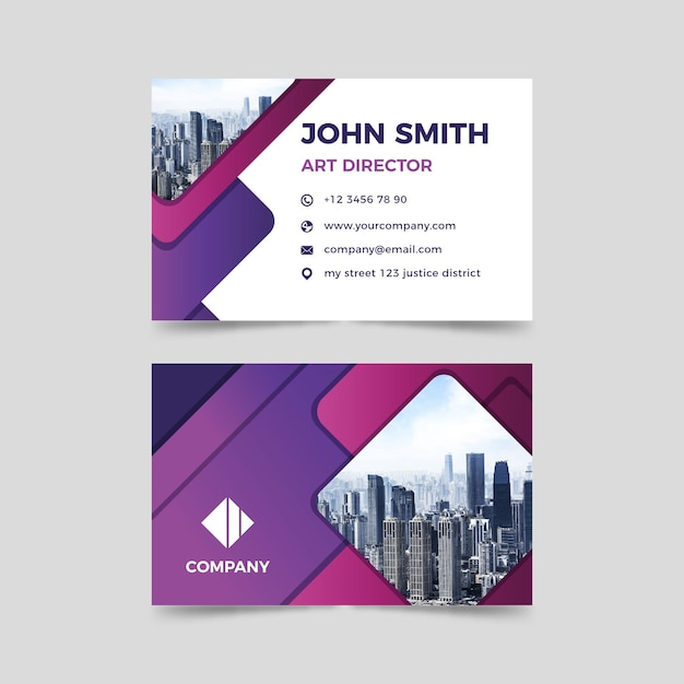Abstract business card template with pic Free Vector
