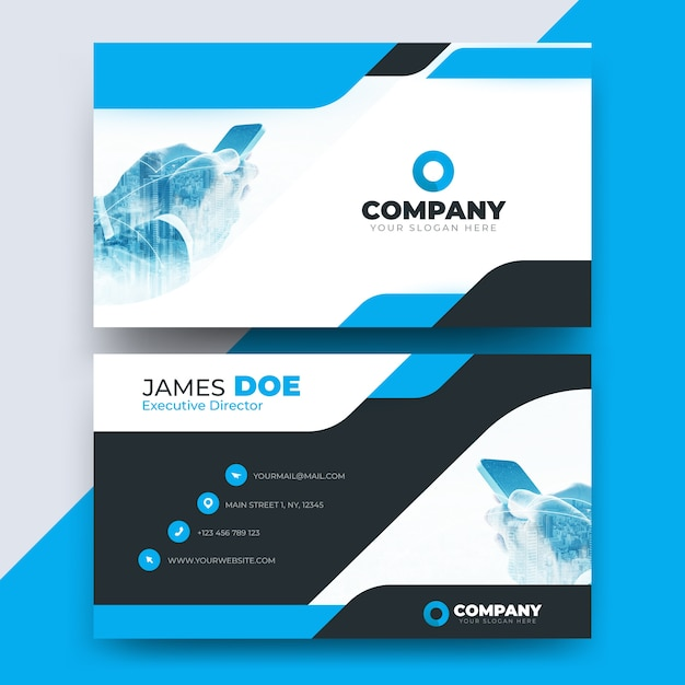 Abstract business card template with picture Premium Vector