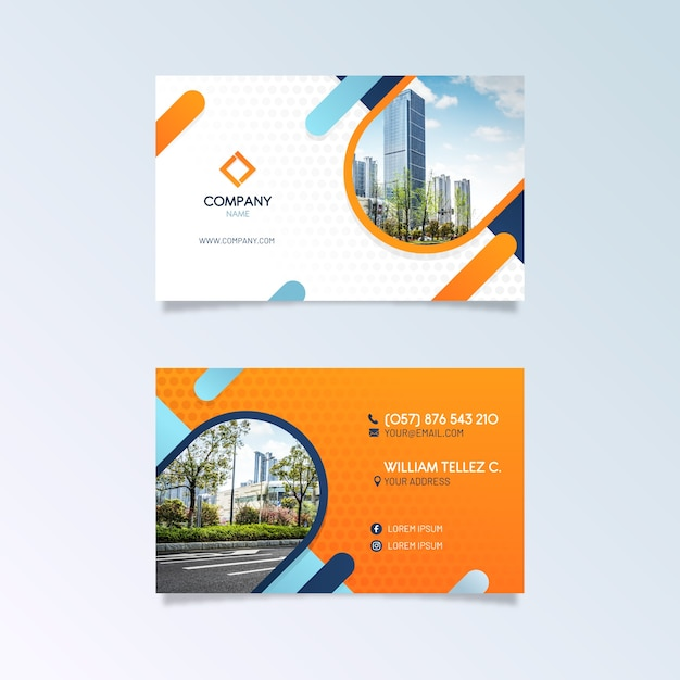 Abstract business card template with picture Free Vector