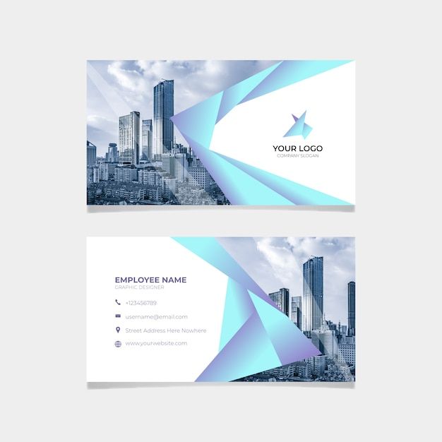 Abstract business card template with skyscrapers Free Vector