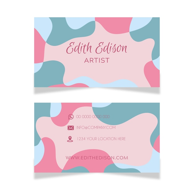 Abstract business card template with stains Free Vector