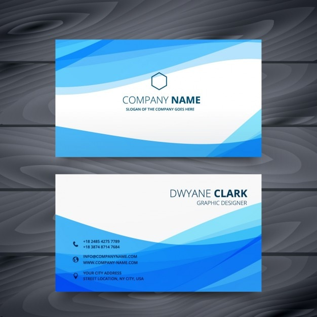 Abstract Business Card With Blue Waves Free Vector
