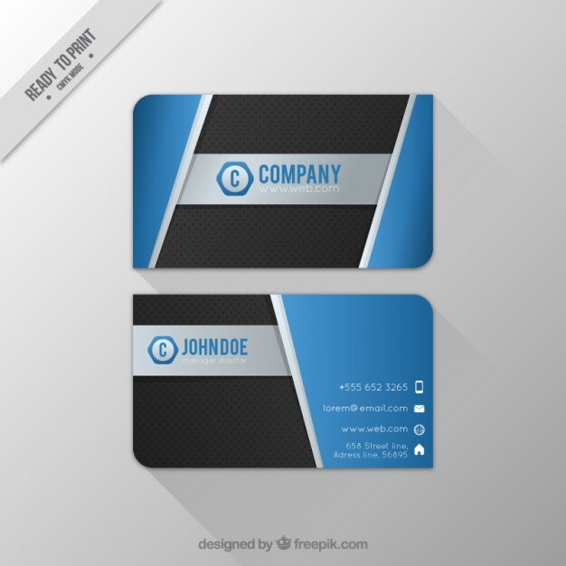 abstract business card with hexagonal logo free vector