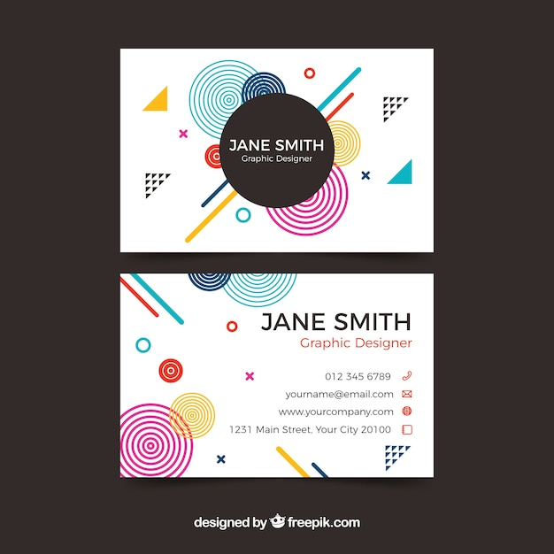Abstract business card with memphis style Free Vector