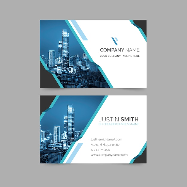 Abstract business card with minimalist shapes and photo template Free Vector