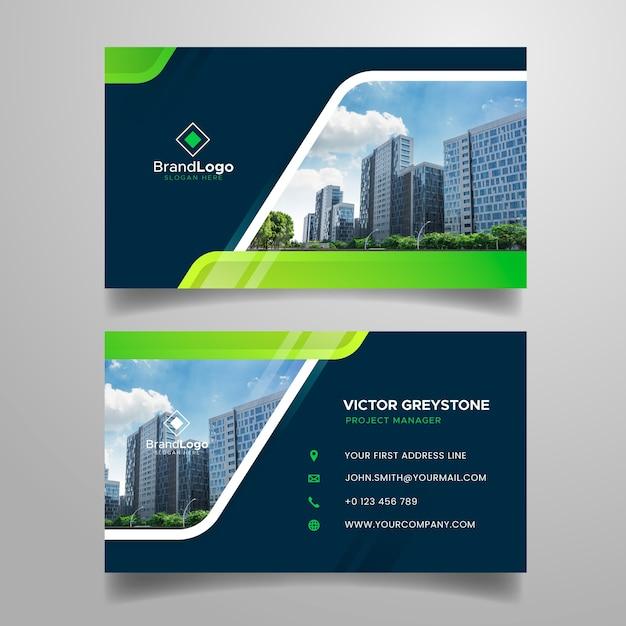 Абстрактная визитная карточка с современными формами и изображением Бесплатные векторы