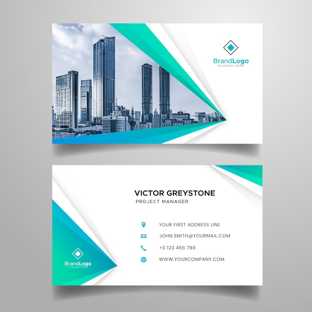 Abstract business card with modern shapes and photo Free Vector