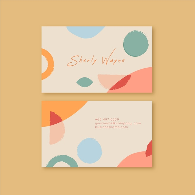 Abstract business card with pastel-colored stains template collection Free Vector