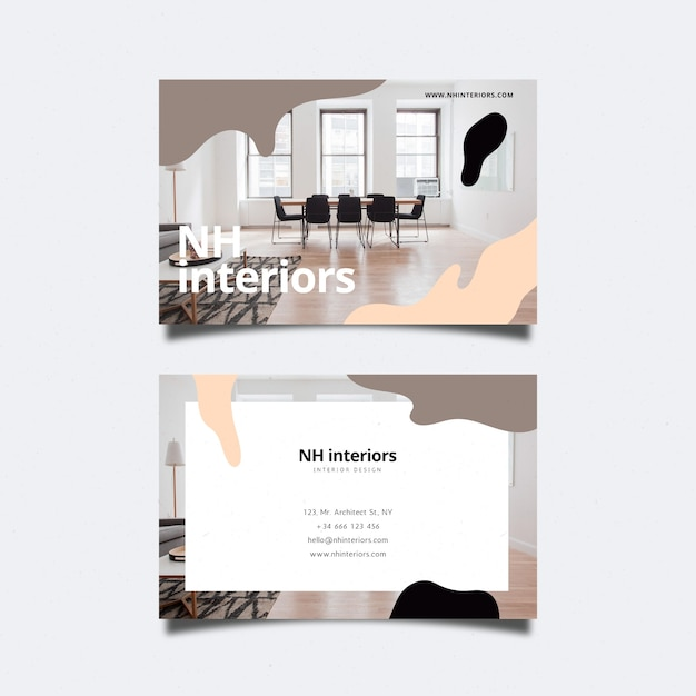 Абстрактная визитная карточка с фото-дизайном Бесплатные векторы