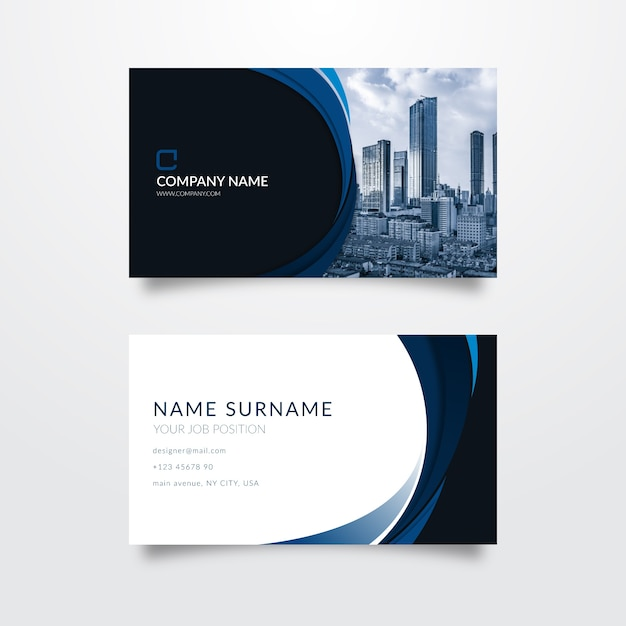 Abstract business card with photo Free Vector