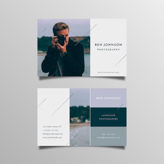 Абстрактная визитка с фото Бесплатные векторы
