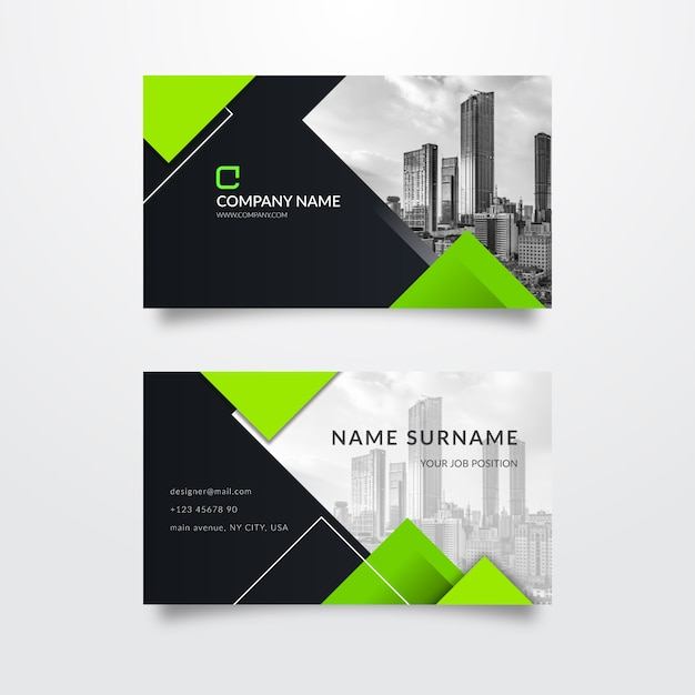 Abstract business card with picture Free Vector