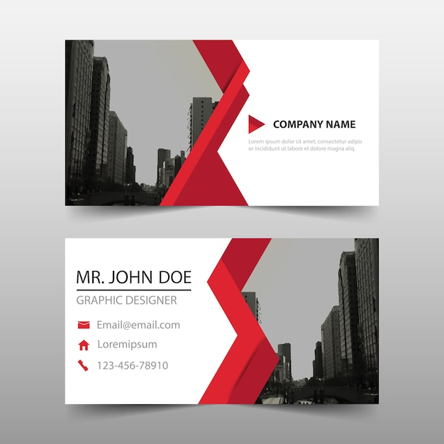 Abstract business card with red detail Free Vector