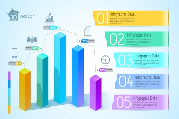 Abstract business chart infographics with colorful 3d square columns five options icons on light illustration Free Vector