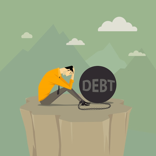 Abstract business concept of despondent. Premium Vector