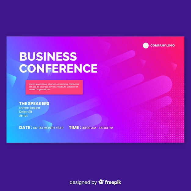 Abstract business conference landing page Free Vector