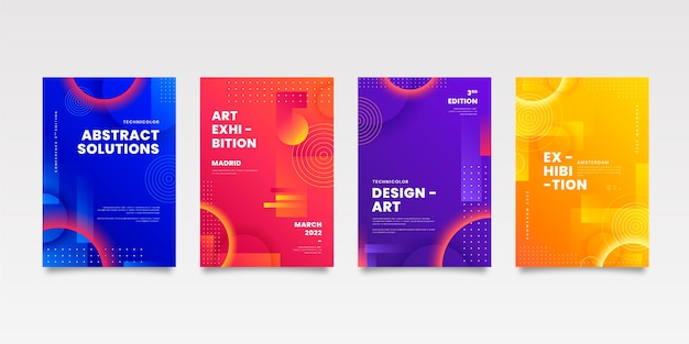 幾何学的な形の抽象的なビジネスカバーコレクション 無料ベクター