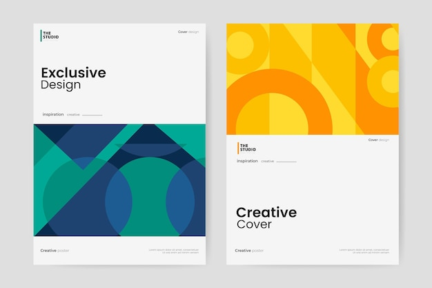 Abstract business cover collection Free Vector