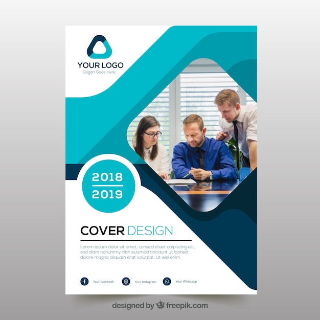Abstract business cover template with photo Free Vector