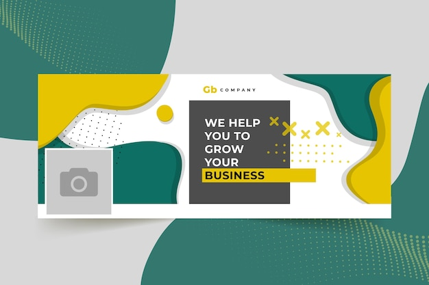 Abstract business facebook cover Free Vector