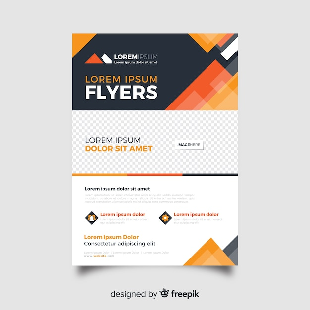 Abstract business flyer template in orange shades Free Vector