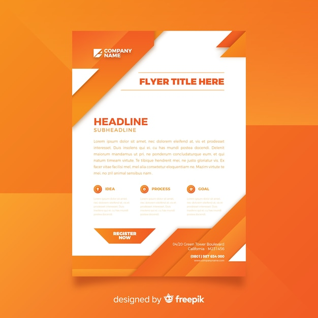 Abstract business flyer template with flat design Free Vector