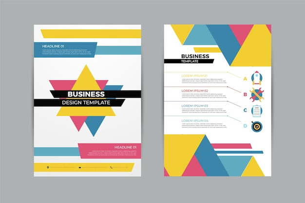 Abstract business flyer template with geometrical shapes Free Vector