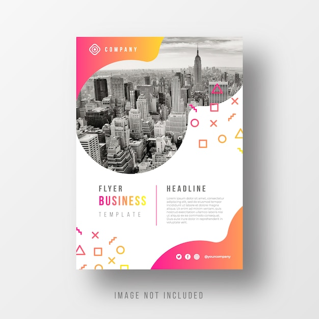 Abstract business flyer template with gradient shapes Free Vector