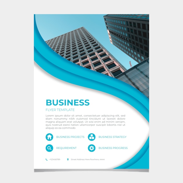 Abstract business flyer template with image Free Vector