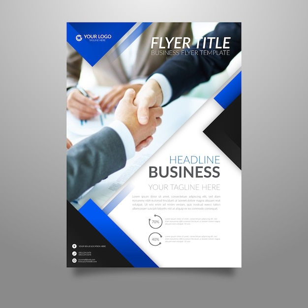 Abstract business flyer template with picture Free Vector