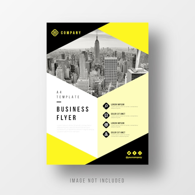 Abstract business flyer template with yellow elements Free Vector