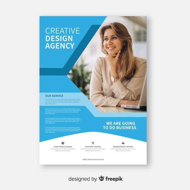 Abstract business flyer with business woman Free Vector