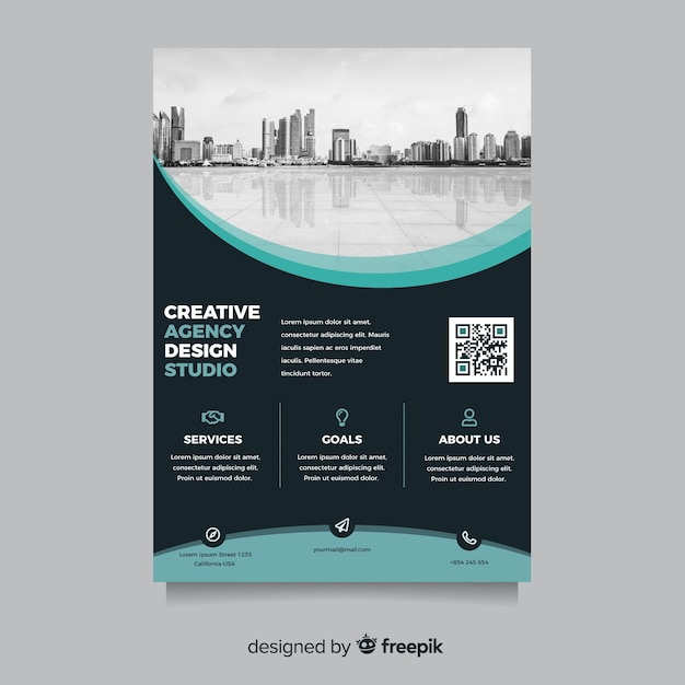 Abstract business flyer with city landscape Free Vector