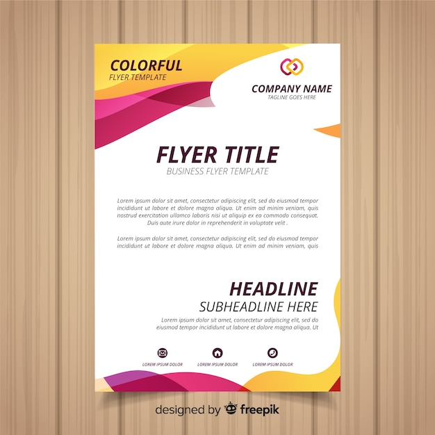Abstract business flyer with colorful style Free Vector