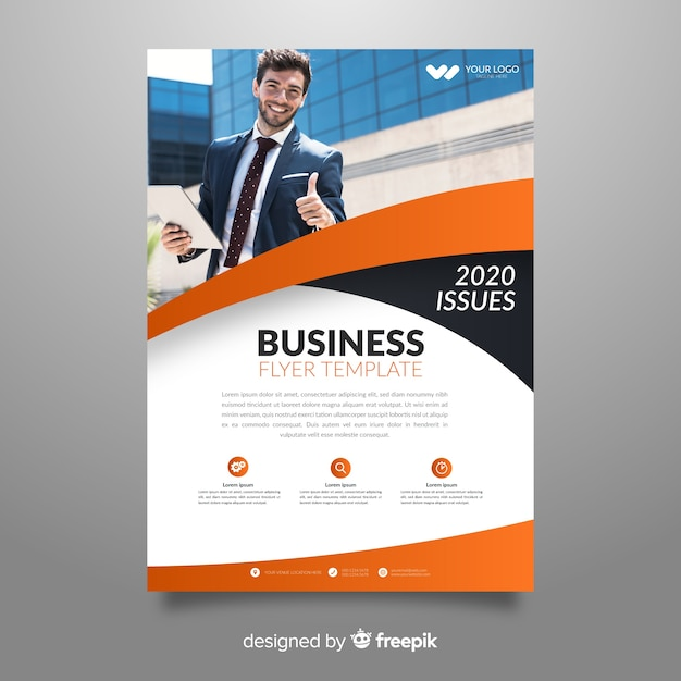 Abstract business flyer with image template Free Vector