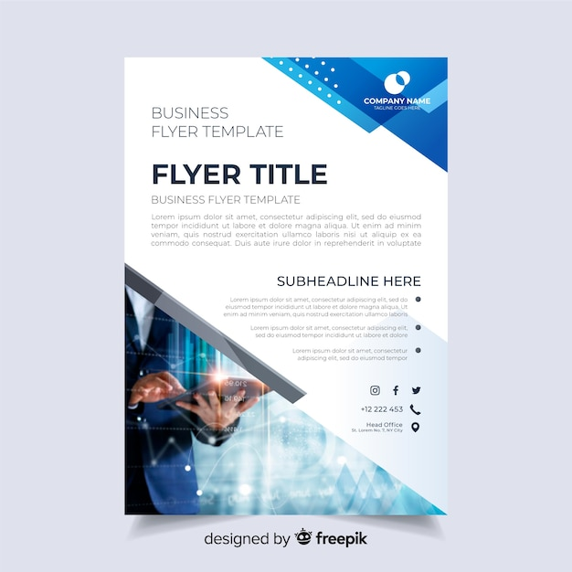 Abstract business flyer with image Free Vector