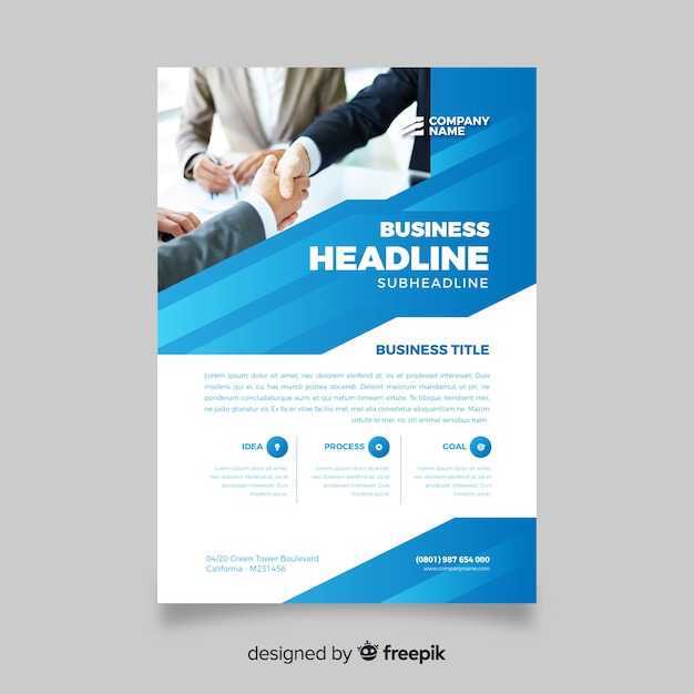Abstract business flyer with men shaking hands Free Vector