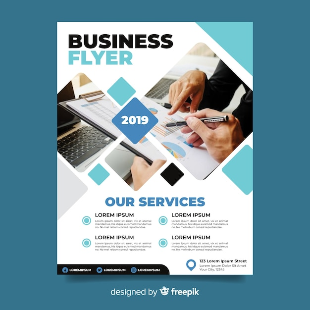 Abstract business flyer with photo template Free Vector