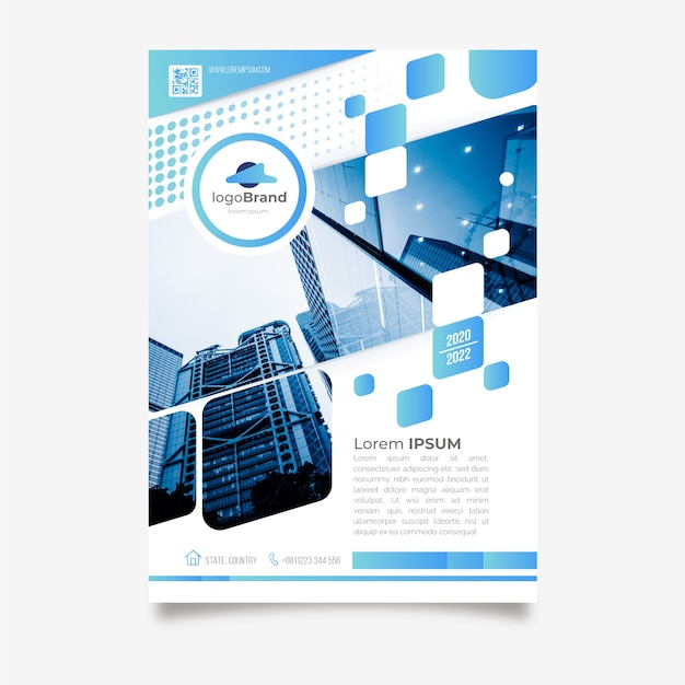 Abstract business flyer with photo Free Vector