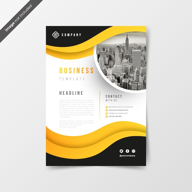 Abstract business flyer with yellow waves Free Vector