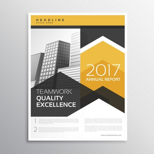 Abstract business flyer in yellow and grey color Free Vector