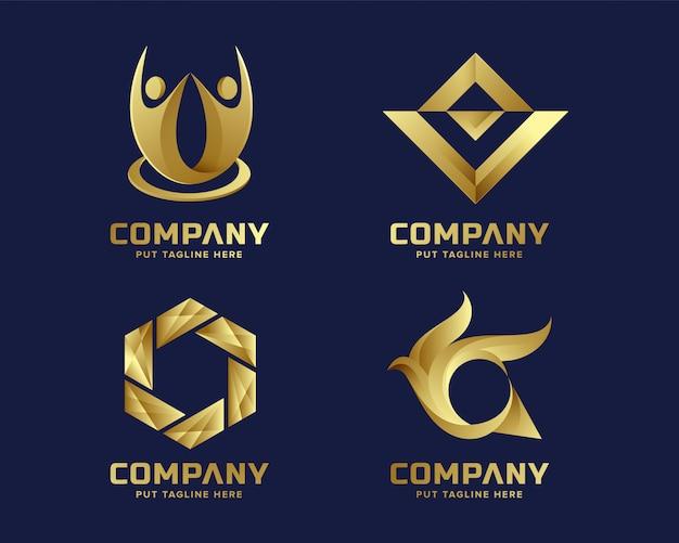 Аннотация бизнес золотой логотип для компании Premium векторы