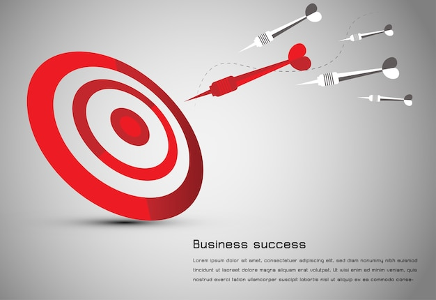 Abstract business idea red dart board Premium Vector