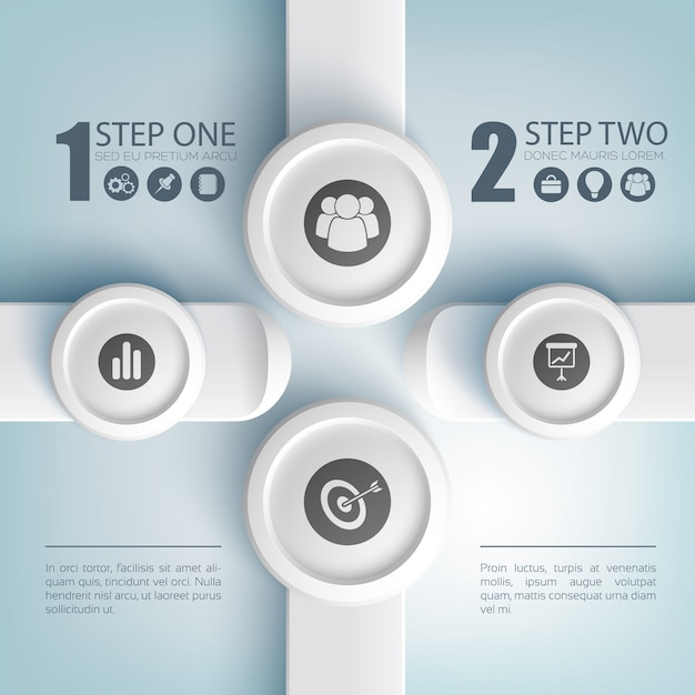 Abstract business infographic concept with text two options icons on gray round buttons and rectangles Free Vector
