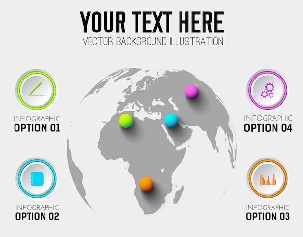Абстрактный бизнес инфографики шаблон с кругами иконки и красочные шары на карте мира Бесплатные векторы