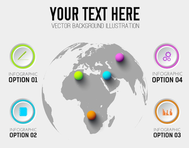 Abstract business infographic template with circles icons and colorful balls on world map Free Vector