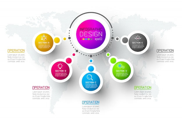 Abstract business infographics step options template. Premium Vector