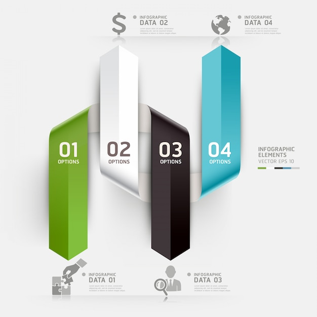 Abstract business infographics template can be used for workflow layout, diagram, number options, step up options, web design, infographics. Premium Vector