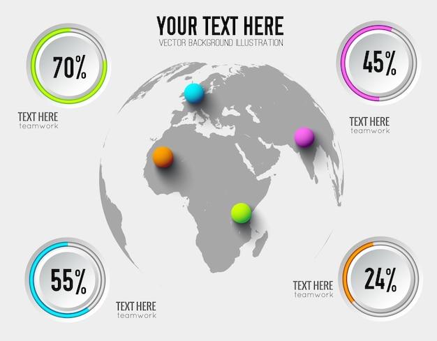 Infographics astratto di affari con tassi percentuali di pulsanti rotondi e palline colorate sulla mappa del mondo Vettore gratuito