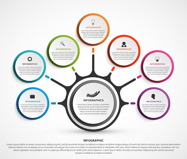 Abstract business infographics with seven options Premium Vector